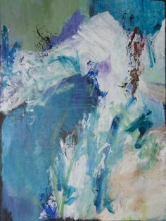'© COOL MOUNTAIN' Acrylic abstract painting. Measures 38x48 inches. Unframed $1100. Felicia Raschke