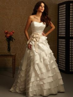 Strapless Layers Belt Bow Satin Ball Gown Wedding Dress $345.99 #bridal gown #dress #ball #strapless #belt #my wedding #satin #wedding dress #layers #wedding #gown #bridal #bow