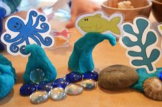 Under the sea-themed printable playdoh accessories