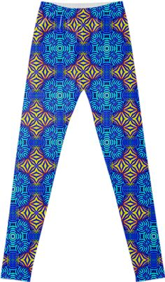 """""""MOROCCAN VIBE II"""" LEGGINGS  BY DOVETAIL DESIGNS,  from Print All Over Me.  This Moroccan Vibe was inspired by photos from iris flowers in the garden, with the image distilled in to pure pattern."""