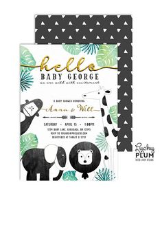 A modern updated version of the traditional animal safari baby shower theme. Decked with watercolor black, green and gold foil, this classy jungle inspired invitation will be loved by mom-to-be. Elephant, lion, giraffe and gorilla monkey - all wild party animals are invited! **Please note this design has elements that are designed to look metallic, but no actual metallic ink or foil will be printed on this product   H O W I T W O R K S ------------------------------ •• This listing is for a…