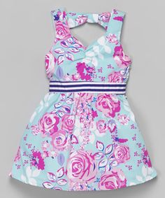 Look at this Sophie Fae Blue & Pink Rose Dress - Infant, Toddler & Girls on #zulily today!