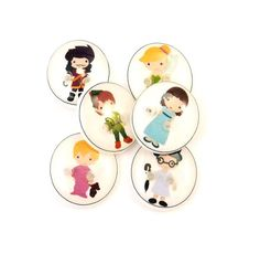 6 SMALL Peter Pan Handmade Buttons.  6 Assorted by buttonsbyrobin, $10.50