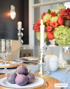 CITRINELIVING FALL TABLESCAPE - Layers of texture and rich color add  sophistication and depth to this Fall tablescape.
