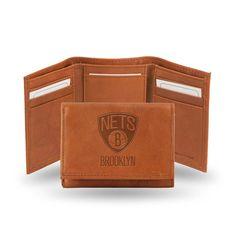 Brooklyn Nets Tri-Fold Wallet (Pecan Cowhide)
