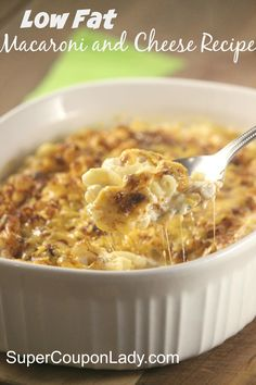 Low Fat Macaroni and Cheese Recipe http://www.supercouponlady.com/low-fat-macaroni-and-cheese-recipe/