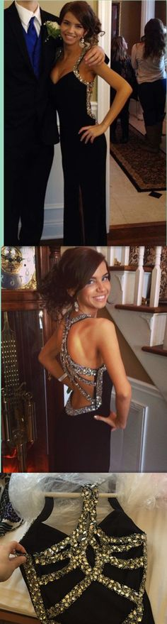 Prom Glam2017-Sexy Charming prom dress,. Black with Silver Straps and V Neckline.