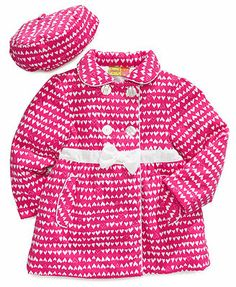 Penelope Mack Baby Coat, Baby Girls Heart Cord Hat and Jacket