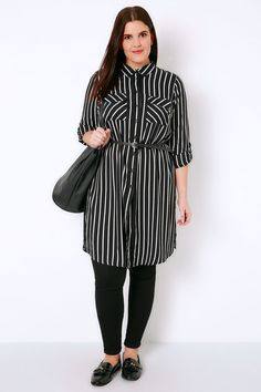 4016bd707a1 Black   White Stripe Longline Button-Up Shirt With Pockets Plus Size  Blouses