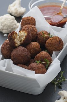 Surprisingly Easy Fried Treat: Cauliflower Falafel With Spicy Tomato Sauce