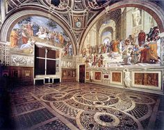 """Raffaello - Stanza della Segnatura 1508-11 dove si trova """"la scuola di atene"""""""