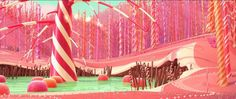 TheCandy Cane Forest is a forest consisting of candy cane trees and ponds of green taffy with gumdrops in Wreck-It Ralph. It is located in the game of Sugar Rush.