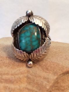 Vintage Spider Web Turquoise Ring Sterling Silver by BlingThings