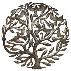 Made from recycled oil drums. HANDCRAFTED tree of life wall hanging.