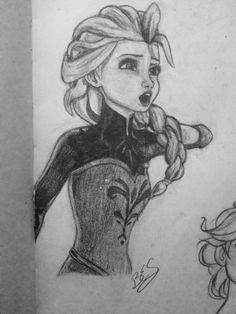 Title: Disney's Frozen Elsa Pencil Sketch    Artist: Brooke E. S.