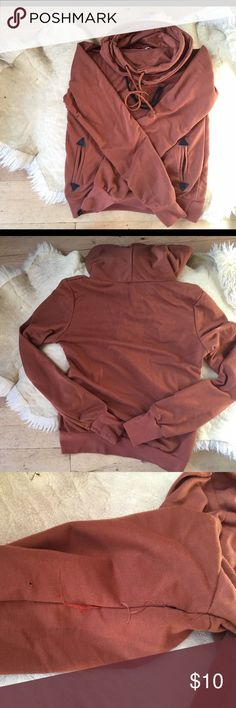 Cowl-Neck Pull-Over Hoody Double layer, cowl-neck hoody, caramel brown,  worn once, small defect under right arm (I got it that way) Sweaters Cowl & Turtlenecks