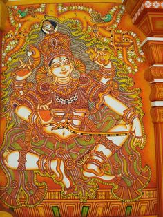 Shiva Dakshinamurthi, temple mural from Kerala Indian Traditional Paintings, Indian Paintings, Shiva, Krishna, Kerala Mural Painting, Pottery Painting Designs, Mural Art, Murals, Ganesha Painting