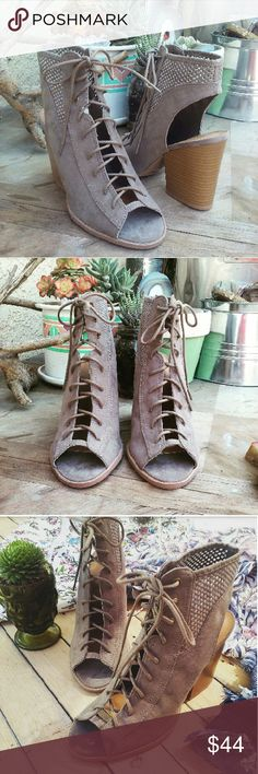 //The Becky// Taupe cutout lace up Booties Brand new Never been worn Comes in original box No trades Many more sizes Available Shoes Ankle Boots & Booties