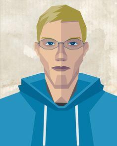 Learn how to create a geometric portrait right here!   http://vector.tutsplus.com/tutorials/illustration/how-to-create-a-self-portrait-in-a-geometric-style/