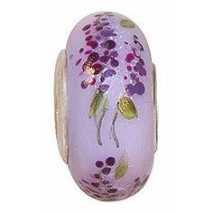 Lilac fenton art bead