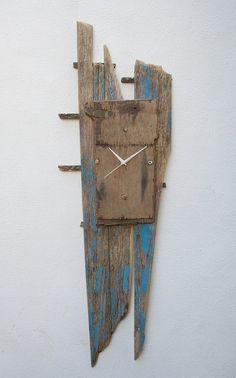 Driftwood Clock,Fishing Boat Driftwood Clock,Drift Wood Clock, Beach finds Clock £65.00