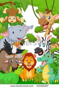 Cartoon Jungle Animal Character Stock Photos, Images, & Pictures…