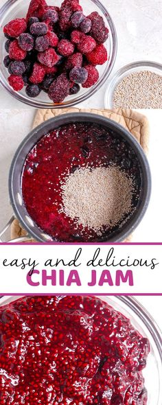 A healthy recipe for easy chia jam made with fresh or frozen fruit like strawberries, blueberries, raspberries or a combination of them all. This is the best easy recipe for homemade chia jam! # Food and Drink homemade Easy Chia Jam Fun Easy Recipes, Jam Recipes, Easy Meals, Healthy Recipes, Healthy Jam Recipe, Chia Jam Recipe, Healthy Baking, Sweet Recipes, Homemade Cookbook
