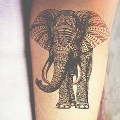 The elephant's intricate detail makes the tattoo stand out more than a regular elephant!