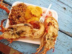 Lobster in la isla de Conchol, off the coast of Cartagena Colombia