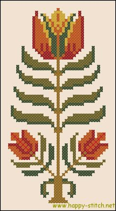 Primitive folk flower - free cross stitch pattern by happy-stitch.net