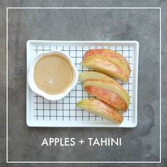 Apples with Tahini Dip - Shutterbean Low Sugar Desserts, Diet Desserts, Healthy Desserts, Tahini Dip, Healthy Dips, Quick Snacks, Afternoon Snacks, Healthy Alternatives, Finger Foods