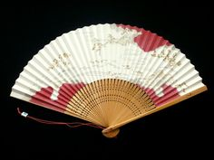 Kyoto Hand Fan landscape painting Vintage Japanese Folding Fan F226 gold silver pink