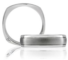 Style SBS009. A Classic Center Brushed A.JAFFE Men's Wedding Band with our Signature squared shank.