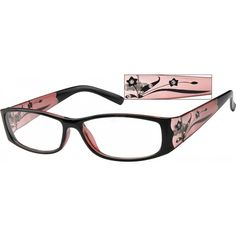 A full-rim plastic frame, this medium wide pair of glasses has a burgundy frame front, scalloped at the corner, with a frosted translucent backing for the burgundy flowers, with crystals, decorating the temple arm. To virtually try on the frame, we encourage you to upload your picture on your computer, into the Zenni Frame Fit feature for your personal sizing.