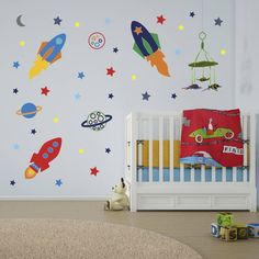 Are you interested in our space rockets wall stickers? With our boys space wall sticker you need look no further.