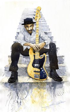 Yuriy Shevchuk, Jazz Marcus Miller 4 - Born in 1961 in Kiev, Ukraine, Yuri Shevchuk attended the Kiev Art School and the prestigious Kiev Architectural Academy. Yuriy has recorded his own experiences in his artworks: his three passions, painting, jazz and historical cars have become the focus of his paintings. Bewitched with jazz music he skillfully and rapidly sketches the cool and charming figures of musicians in action, showing the positive mood and spiritual intensity of jazz.