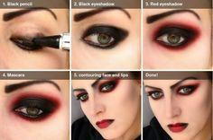 maquiagem halloween - make up halloween - diy makeup -sexy vampira Goth Makeup, Fx Makeup, Cosplay Makeup, Costume Makeup, Makeup Ideas, Demon Makeup, Queen Makeup, Cosplay Diy, Fairy Makeup