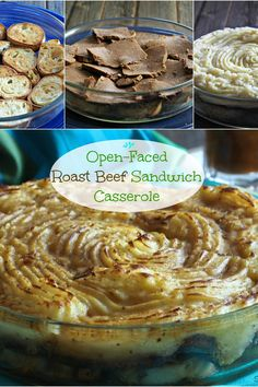 Open-Faced Roast Beef Sandwich Casserole - layers of toasty bread, tender roast beef & creamy, buttery mashed potatoes create this delicious casserole. Simply Sated