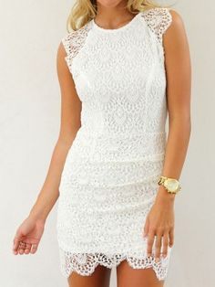 Shop White Crochet Lace Sleeveless Bodycon Dress from choies.com .Free shipping Worldwide.$19.9