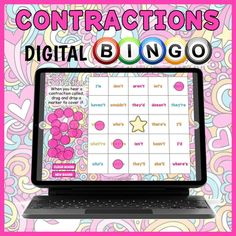 DIGITAL Contractions Bingo Game - Groovy Contractions BINGO | TpT Fun Classroom Activities, Educational Games For Kids, Bingo Games, Digital, Educational Games For Children, Kids Educational Games