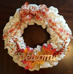 Burlap Wreath, Welcome Wreath, Fall Wreath, Ivory Burlap Wreath, Fall Burlap Wreath by RTFCreations on Etsy