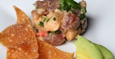"""""""Luxurious 15"""" Lobster and Tuna Tartare with Wonton Crisps and Avocado"""