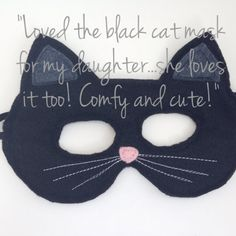 Black felt cat mask. Meow! Excellent for dress up, Halloween and any other time of the year you feel like being a kitty cat! Topstitched with with two layers of felt for quality and durability. Mask is 7 wide. Measure your childs head (around where the mask would go) for best fit.  Small - 17 around unstretched - fits 18 months to 3 year olds  Medium - 19 unstretched - fits 3 to 5 year olds  Large - 20 unstretched - fits 6 to 10 year olds  Made to order, please allow 1-2 weeks for this item…