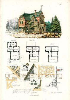 vintage victorian house plans | 1879 print victorian house