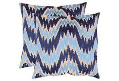 S/2 Adam 20x20 Linen Pillows, Indigo