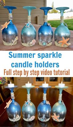 Blown away by how gorgeous these are. glass crafts painted diy Wine Glass Candle Holders Summer And Sea Pattern - Crafting News Wine Glass Candle Holder, Diy Candle Holders, Diy Candles, Glass Holders, Beeswax Candles, Wine Glass Crafts, Wine Bottle Crafts, Bottle Art, Glass Bottle