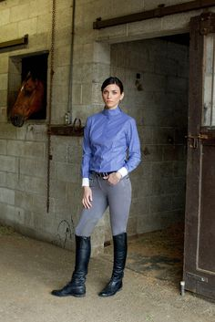 Color: Blue The smart take on a classic: A crisp show shirt handcrafted with Italian stretch cotton for ease of movement. Features princess seams for a slim and flattering fit, with an attached collar
