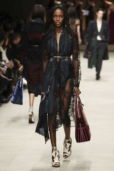 Black Lace Trench Coat seen on the runway of the Burberry Prorsum Ready To Wear Fall Winter 2014 Show during London Fashion Week