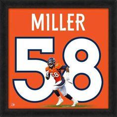 Von Miller, Broncos UniFrame Framed photographic representation of the player's jersey Super Bowl, Classy Man Cave, Framed Jersey, Ultimate Man Cave, Denver Broncos Football, Football Memorabilia, Man Cave Home Bar, Fun, Mancave Ideas