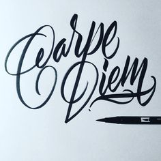 Carpe Diem. #tgif #calligraphy #calligraffiti #brushpen #tombow #lettering #handstyles #handlettering #type #typography #typewritersclique #design #thedailytype #thedesigntip #typegang #typematters #goodtype